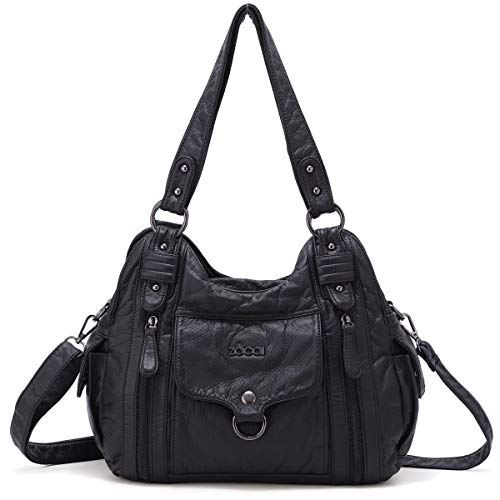 ZOCAI Hobo Shoulder Bag for Women Roomy Handbags Ladies' Street Tote Satchel PU Leather with Multi Pockets (Black)