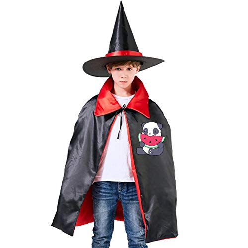 Kids Cloak Panda And A Watermelon Wizard Witch Cap Hat Cape All Saints' Day DIY Costume Dress-up For Halloween Party ()
