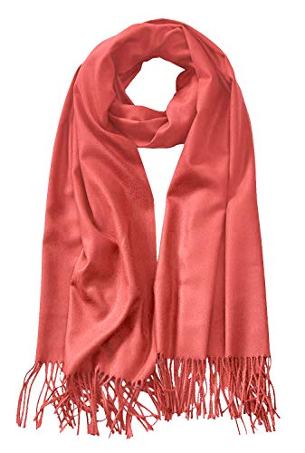 MBJ Shawls and Wraps Elegant Cashmere Scarfs for Women Stylish Warm Blanket Solid Winter Scarves ONESIZE CORAL