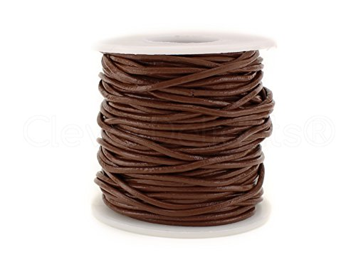 (CleverDelights Brown Round Premium Genuine Leather Cord - 2mm - 10 Yards - Beading Jewelry Craft)