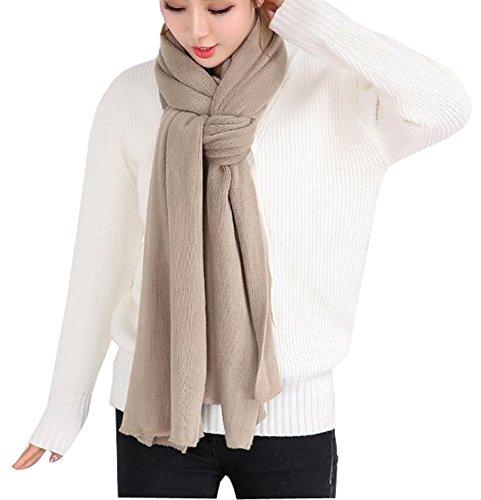 Wander Agio Women's Warm Long Shawl Winter Scarfs Large Scarf Pure Color Khaki (Scarf Wool White)