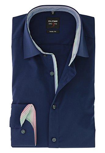 OLYMP Herren Langarm Business Hemd | Serie Level 5 Body Fit mit New York Kent Kragen | Comfort Stretch Nachtblau Gr.44