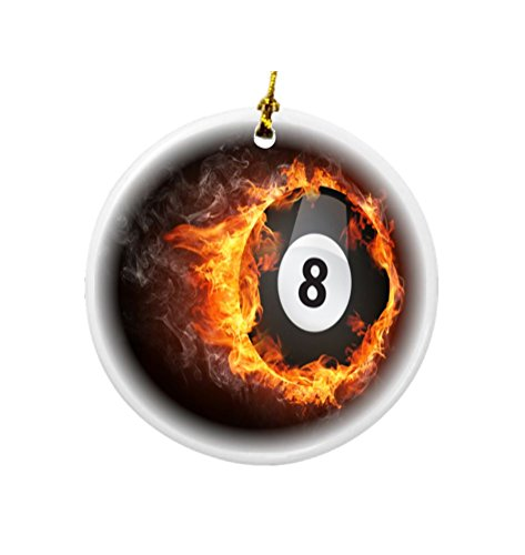 Billiard Ball Ornament (Rikki Knight Pool Billiards Ball on Fire Design Round Porcelain Two-Sided Christmas Ornaments)