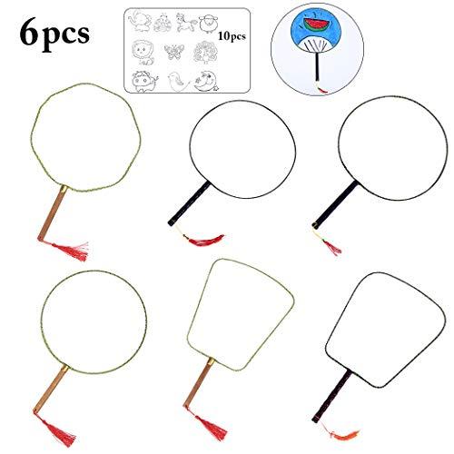 Joyibay 6PCS Hand Fan Creative Blank Drawing DIY Round Hand Fan with 10 Stencil