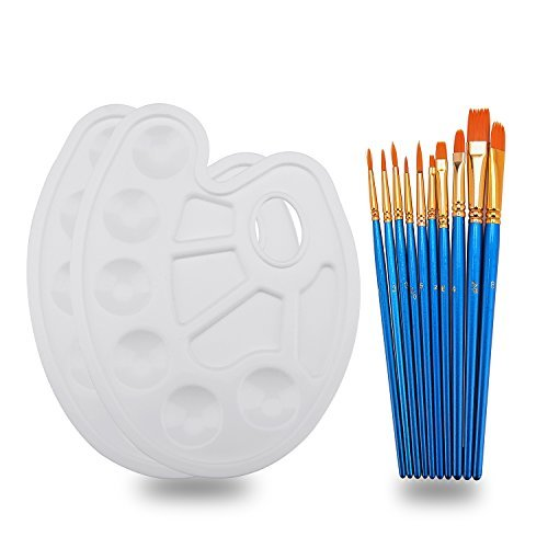 Hundor 10Pieces Round Pointed Tip Nylon Hair Brush Set With 2 Paint Tray Palette by Hundor