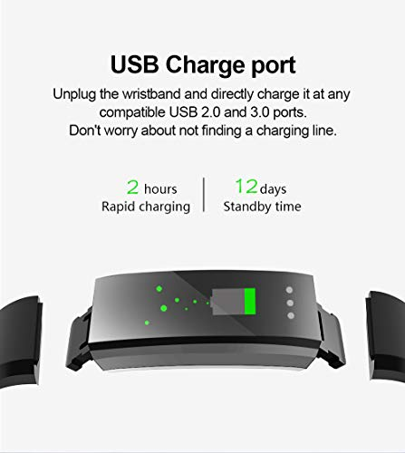 Glumes Bluetooth Smart Watch with heart Blood Pressure Test Heart Rate Monitor Touchscreen Wrist Watch Unlocked Waterproof Smart Watch for Android Samsung IOS Iphone Plus Men Women (Black) by Glumes (Image #3)