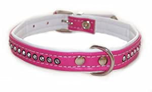 Imitación de cuero collar de perro con cristales de Swarovski rosa 32cm/11mm)