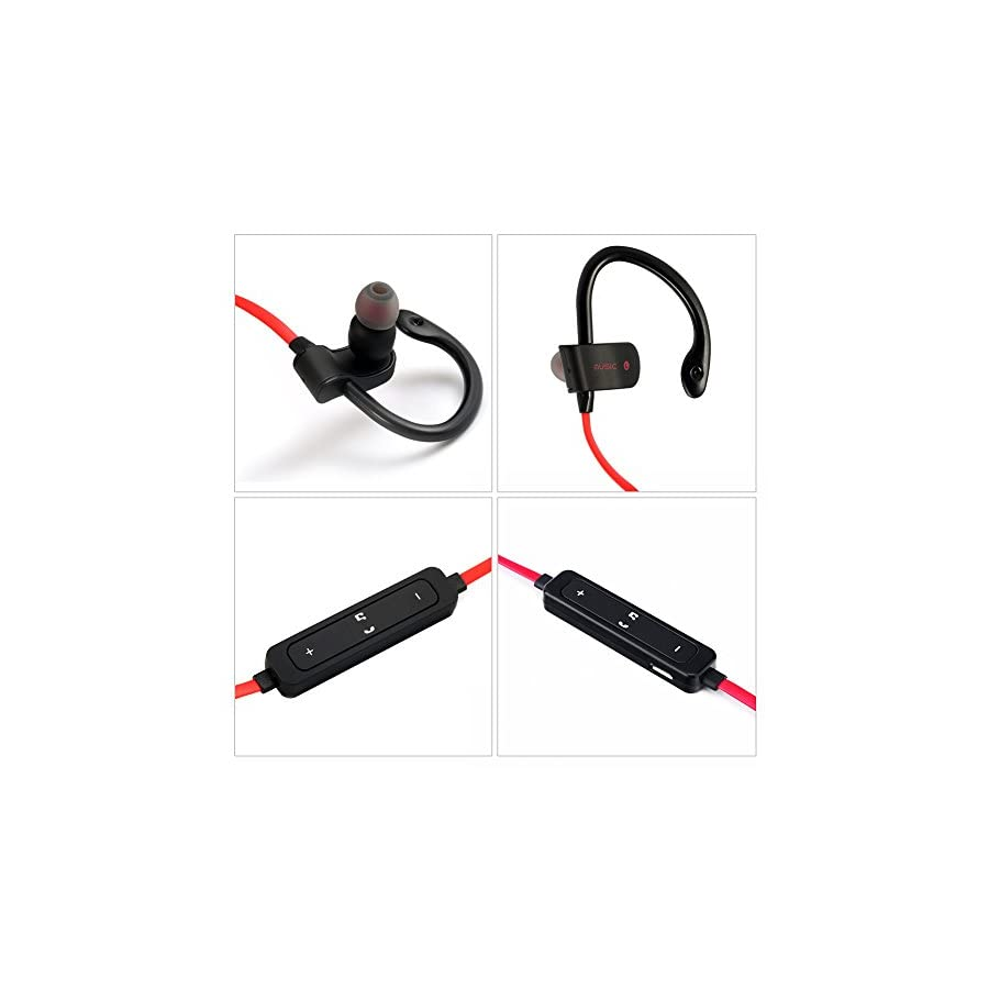 SCASTOE Bluetooth Headphones, Wireless Music Sports Earphones with Mic, Flat Wire Ear Hook Headphone, Red