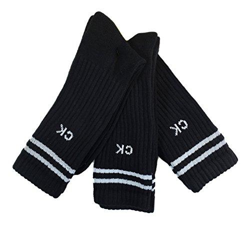 Calvin Klein 3 Pk Sport Pack Cotton Athletic Crew Socks (One Size, (Calvin Sport Socks)