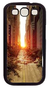 Samsung Galaxy S3 Case Sun Rising Over A Street 2 PC Hard Plastic Case for Samsung Galaxy S3 / SIII / I9300 - Polycarbonate - Black