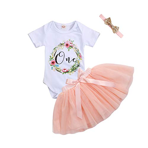 3Pcs Baby Girl One 1st Birthday Outfits Floral Romper Tulle Tutu Skirt Set Party Dress Costume Clothes (9-12 Months, Peach Color Skirt Set) -
