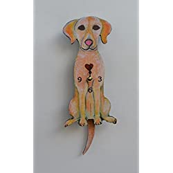 Wall Clock with SwingingTail Pendulum, Cat or Dog, Wood Frame, 31 Different Designs, Requires 2 AA Batteries(not included) for Clock and Pendulum,Quartz Movement (green and yellow)