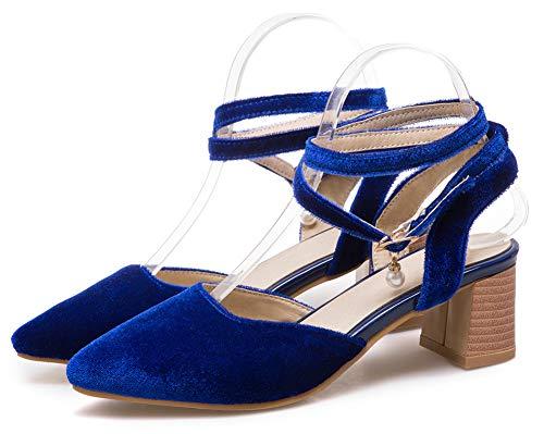 Cheville Escarpins Moyen Femme Attache Tour Aisun Mode Talon La Au De 5cm Bleu 1T0Zwq4