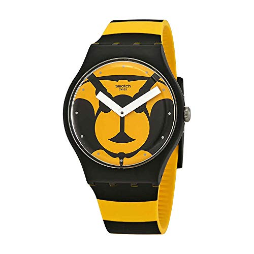 Swatch Originals Max L'Abeille Yellow Dial Silicone Strap Unisex Watch SUOB149 (Dial Yellow Womens)