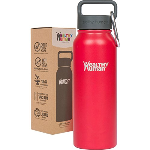 Healthy Human 21 oz Water Bottle - Cold 24 Hrs, Hot 12 Hrs. 4 Sizes & 12 Colors. Double Walled Vacuum Insulated Stainless Steel Thermos Flask with Carabiner & Hydro Guide. Color: Red Hot