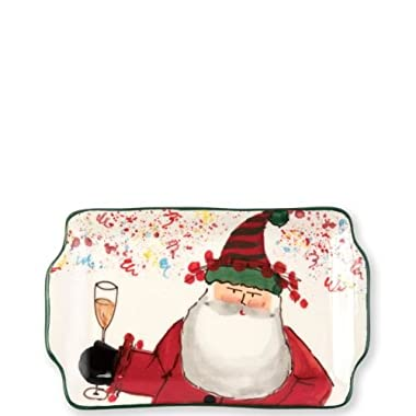 Vietri Old St. Nick 2018 Limited Edition Rectangular Plate, Christmas Toast
