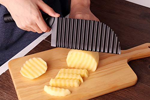 LALI Garnishing Knife French Fry Cutter Crinkle Potato Slicer Stainless Steel Potato Dough Waves Crinkle Cutter Slicer, Home Kitchen Vegetable Chip Blade Cooking Tools (Corrugated blade-Large size)