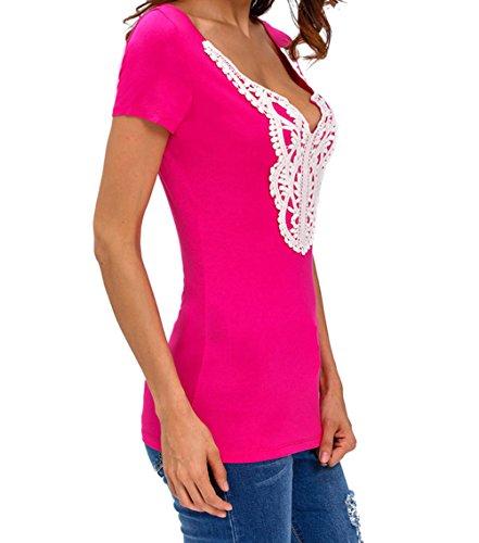 YeeATZ Crochet Lace Applique Blue T-shirt(Size,S)