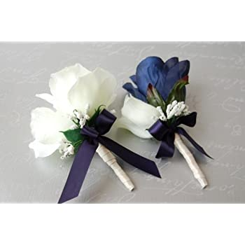 amazoncom navy blue and ivory rose corsage amp boutonniere