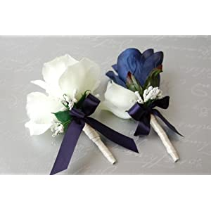 Navy Blue and Ivory Rose Corsage & Boutonniere Set 73