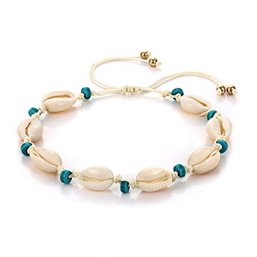 (CENAPOG Cowrie Shell Anklets Adjustable Cord Rope Anklet Bracelets Shell Charms Hemp Anklet Bracelets Cowry Beaded Ankle Bracelet Handmade Unisex Hawaiian Beach Jewelry (White#2))