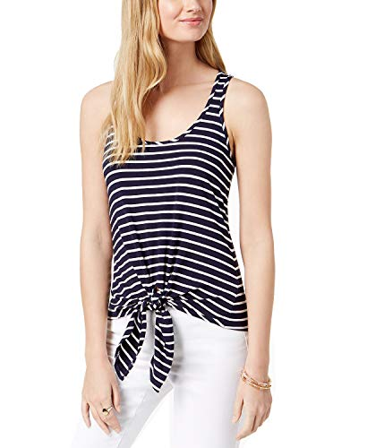 Maison Jules Women's Striped Front-Tie Tank Top (Blu Notte Combo, ()