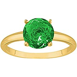 1/2 - 5 Carat 14K Yellow Gold Round Emerald 4 Prong Diamond Engagement Ring (AAA Quality)