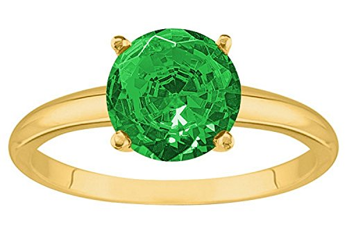 (2 1/2 Carat 18K Yellow Gold Round Emerald 4 Prong Solitaire Diamond Engagement Ring (AAA Quality))