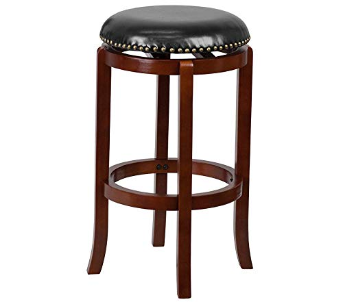 Office Home Furniture Premium 29'' High Backless Light Cherry Wood Barstool with Black Leather Swivel Seat