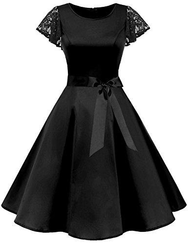 Uniboutique Womens Plus Size Casual Ladies Lace Cap Sleeve Round Neck Prom Cocktail Skater Midi Dress with Belt Black XX-Large