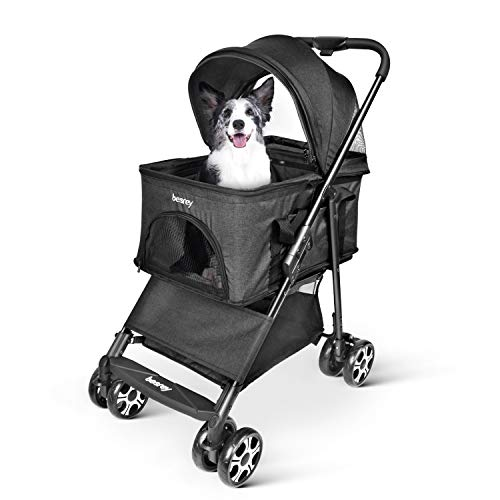 besrey Pet Stoller Lightweight Lite Dogs Jogger Foldable Cat Carrier for Cats/Dogs-Black