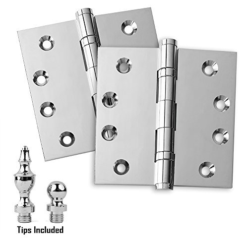 Chrome Solid Brass Hinges - 2 Pack Door Hinges 4.5