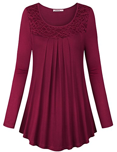 (Youtalia Womens Blouses and Tops for Work, Girls Trendy Shirt Long Sleeve O Neck Pleated Fit and Flare A Line Comfy Knit Flowy Tunic,Wine Large)