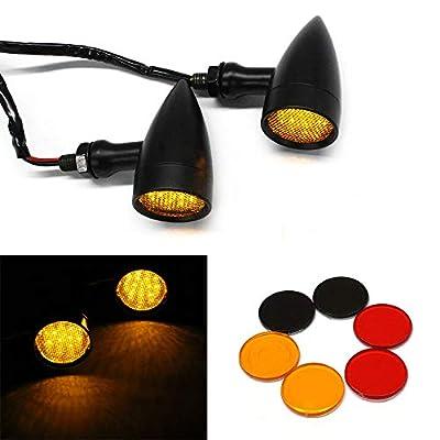 Black Motorcycle LED Turn Signals Amber Light Brake Running Tail Lights Bullet: Automotive
