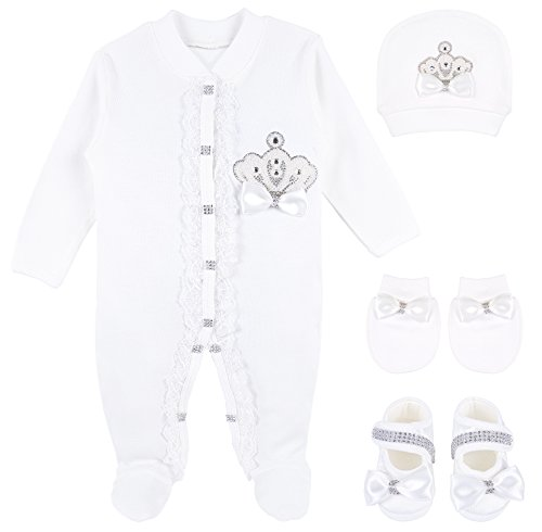 Lilax Baby Girl Jewels Crown Baptism Lace Detail Layette 4 Piece Gift Set 0-3 Months White (Piece Layette)