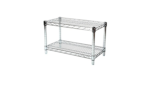 Commercial Chrome Wire Shelving 24 x 48 2 Shelf Unit 18 Height