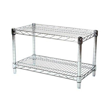 Commercial Chrome Wire Unit 14 x 24 - 2 Shelf Unit - 14'' Height by LJ