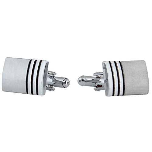 TRIPIN Men's Silver Rectangle Cufflinks With Classic Finish