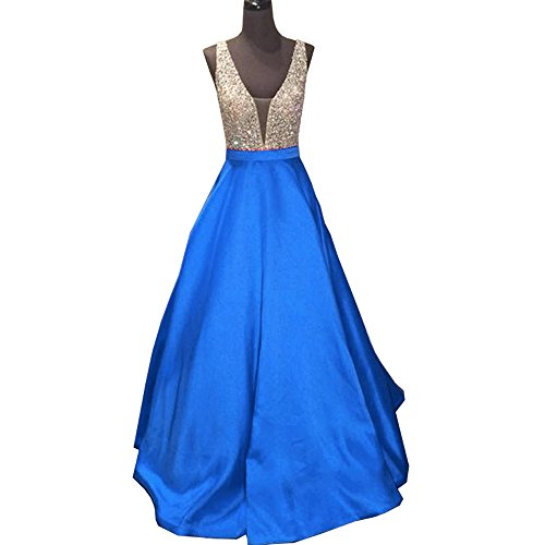 JINGDRESS Sexy V Neck Prom Dresses A Line Long Evening Gowns Open Back(Blue,16) by JINGDRESS