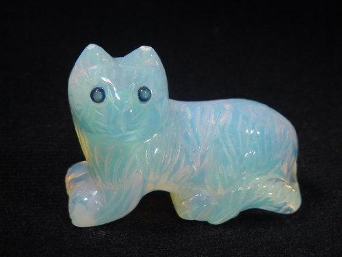 Decorative Opalite Kitty Cat Carving Lapidary Gazing Stone