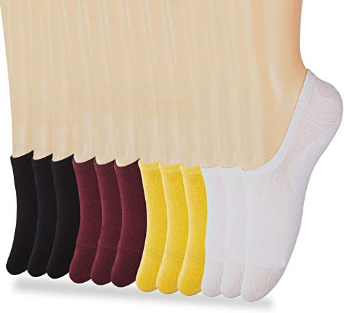 (Low Cut No Show Socks for Women,Athletic Ankle Short Invisible Black White Wine Yellow Cotton Socks)