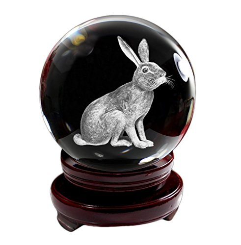IFOLAINA Crystal Glass Ball 3D Laser Engraving Chinese Zodiac Signs Rabbit Articulate Home Decoration with Wooden Stand 80mm
