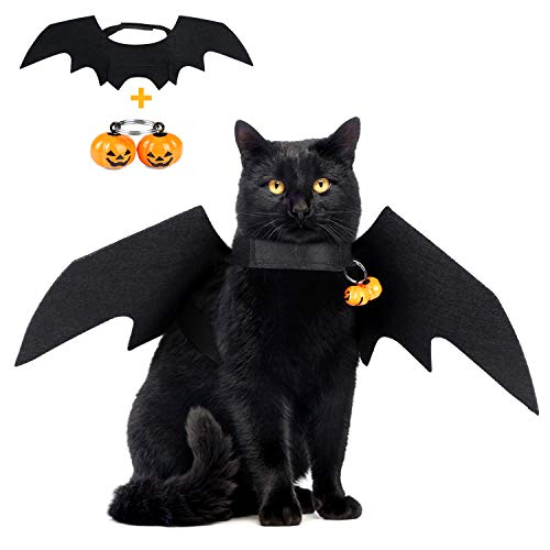 KAOSITONG Cat Halloween Costume - Pet Bat Wings & Pumpkin Bell for Small Cats & Dogs Funny Holiday Decorations Clothing ()