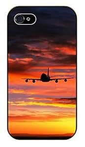 iPhone 5 / 5s Sunset - black plastic case / Plane, aircraft, airplane