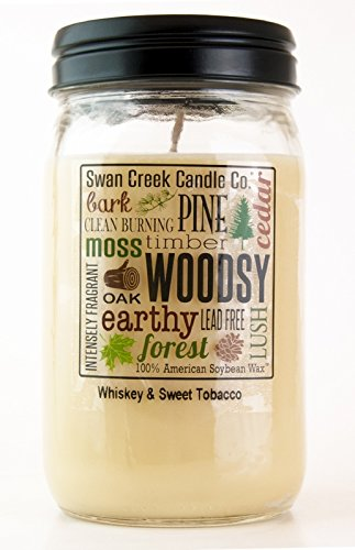 - Swan Creek Whiskey & Sweet Tobacco 24 oz Kitchen Pantry Jar Candle