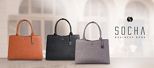 SOCHA Damen Businessbag Tasche Couture Taupe Gris 14'-15,6' Bowatex