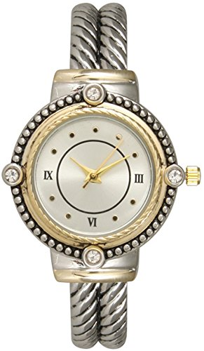 Fashion Watch Wholesale Ladies Western Design Metal Bangle/Cuff Watch with Rhinestones on Bezel (Two Tone) (Cuff Tone Two)