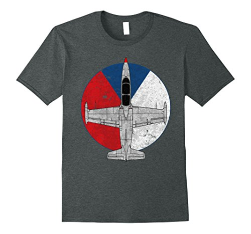 Mens L-39 Albatros Czech Jet Aircraft Vintage Pilot T-Shirt Large Dark Heather