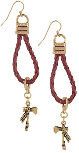 COLLEGIATE Red & Gold Tone Tomahawk Braided Earrings One Size Red/gold (Tomahawk Earrings)