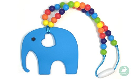 Baby Elephant Teether (Blue) | Soft Hygienic Activity Teething Toy | Attach to Baby Carriers and Strollers (Emerging Elephant)